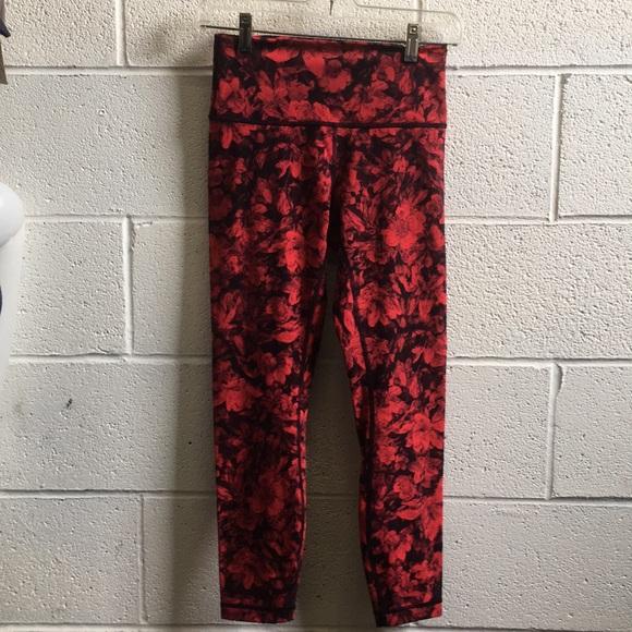 f63a192ffd2b28 lululemon athletica Pants - Lululemon red & black floral crop legging ...